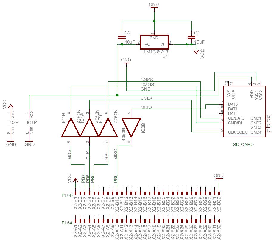 Het schema voor gebruik met de VIA ziet u hieronder.  Deze SD kaart interface is een PCB dat op.
